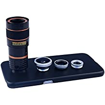 Apexel 4 in 1 Wide Angle Macro Lens + Fisheye Lens + 8X Telephoto Camera Lens Kit with Back Case Cover for Samsung Galaxy S6 Silver