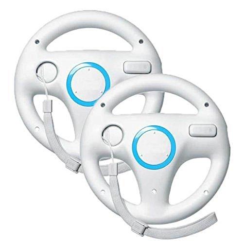Stoga Wii Wheel for Nintendo Mario Kart Racing Volante Juego Regulador para Control Remoto Wii Juego - Blanco (2 PIEZAS)