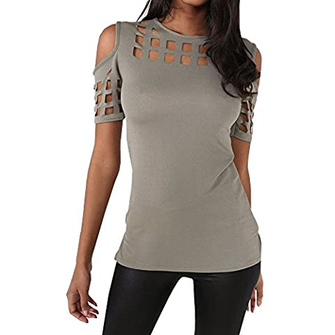 Uranus Women's Stylish Hollow Out Pullover Henley Top Gray