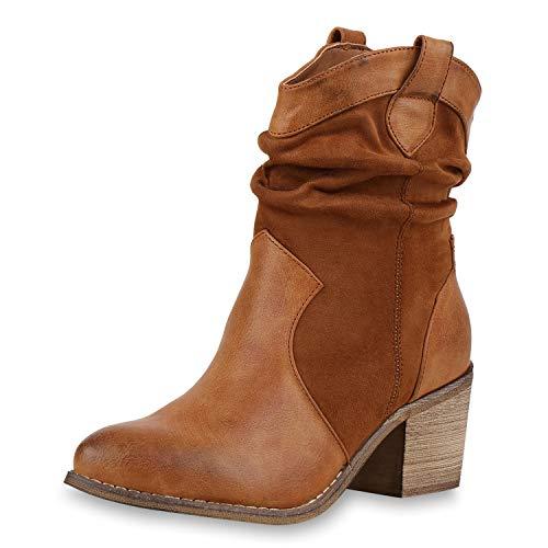 SCARPE VITA Damen Stiefeletten Cowboy Boots Holzoptikabsatz Western Schuhe 174692 Hellbraun 37