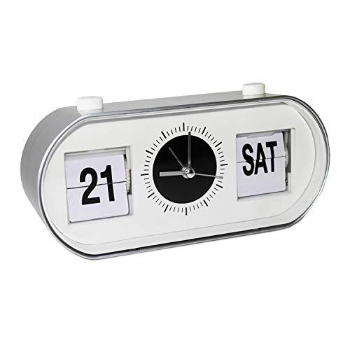 marctop - multifunktionaler Wecker in stylischer Retro-Optik, mit großer Anzeige von Datum und Wochentag, geräuschlos (kein Ticken), Flip-Clock analog