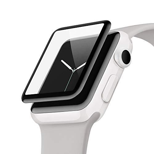 Belkin ScreenForce UltraCurve-Displayschutzfolie (für die Apple Watch der Serie 2, 42 mm, vollflächiger Schutz mit abgerundeten Kanten, echtes Glas, kratzfest) schwarz Belkin Screen Protector
