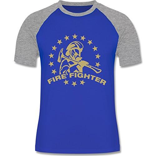 Feuerwehr - Fire Fighter - zweifarbiges Baseballshirt für Männer Royalblau/Grau meliert