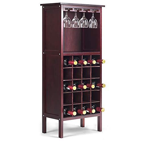 COSTWAY Weinregal aus Holz, Weinschrank für 20 Flaschen, Flaschenregal mit Glasaufhänger, Weinständer schwarz, Flaschenständer 42 x 24,5 x 96 cm, Gläserregal für Küche, Bar (Weinrot)