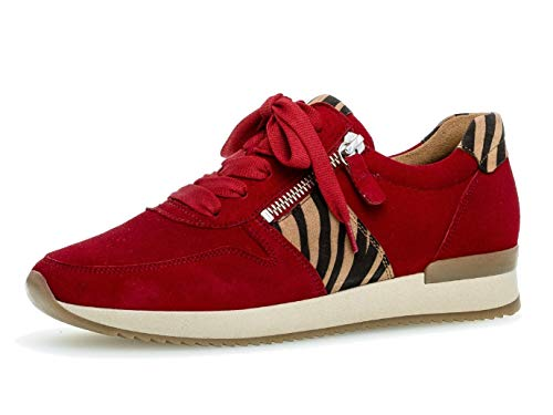 Gabor Damen Sneaker 33.420, Frauen Low-Top Sneaker,Halbschuh,Schnürschuh,Strassenschuh,Business,Freizeit,Rubin/Natur,40.5 EU / 7 UK