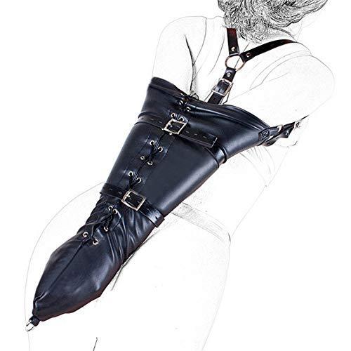 DAWANJU Armbinder Bondage Monohandschuh Weichem Leder Extreme Tight Arm Fesselgurte Mit Schulterriemen Und Reißverschluss Erotik Oberkörperfesselsack Zwangsjacke Fesseln Fetisch Für Paa