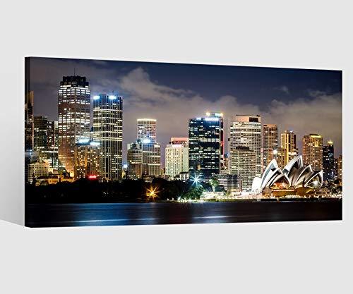 Leinwandbild Leinwand Skyline Sidney Kat15 Stadt Australien Bild Bilder Wandbild Holz Leinwandbilder Kunstdruck vom Hersteller 9AB675, Leinwand Größe 1:80x40cm