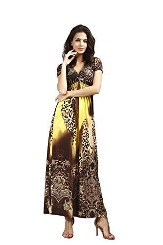 JOTHIN 2017 été La Nouvelle Robe de Plage le Léopard Eponger le Plancher Bohème Robe Imprimée de Taille Grands Robe de Soie de Glace Jaune