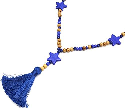 Oh My Shop CL1956F - Sautoir Collier Perles Bois et Effet Marbre avec Triple Etoiles Pierre et Pompon Bleu Ma