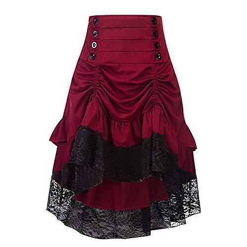 (HEL Damen Herbst und Winter Retro Nähen Spitze Tasche Hüfte Knopf Rock Herbst und Winter Retro Stitching Spitze Tasche Hip Button Rock (S, Rot))