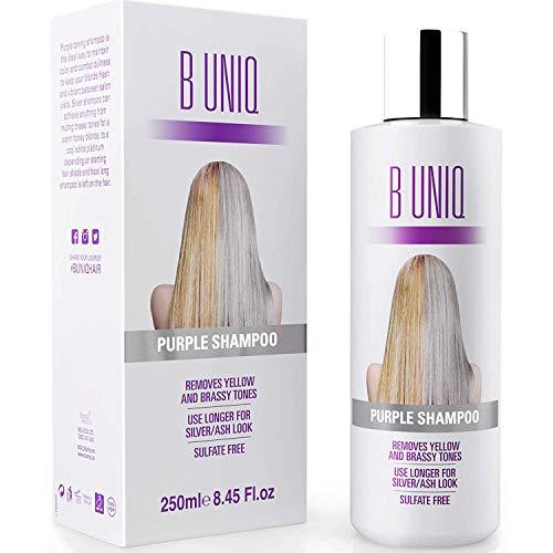 Silbershampoo - Anti-Gelbstich Purple Shampoo für blonde, blondierte, gesträhnte und graue Haar - No Yellow von B Uniq für Silber- / Aschblond-Tönung - ohne Sulfat & Paraben - 250ml