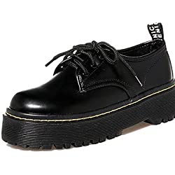 NJX/ hug Scarpe Donna-Sneakers alla moda-Casual-Creepers / Punta arrotondata / Chiusa-Plateau-Finta pelle-Nero , black-us6.5-7 / eu37 / uk4.5-5 / cn37 , black-us6.5-7 / eu37 / uk4.5-5 / cn37