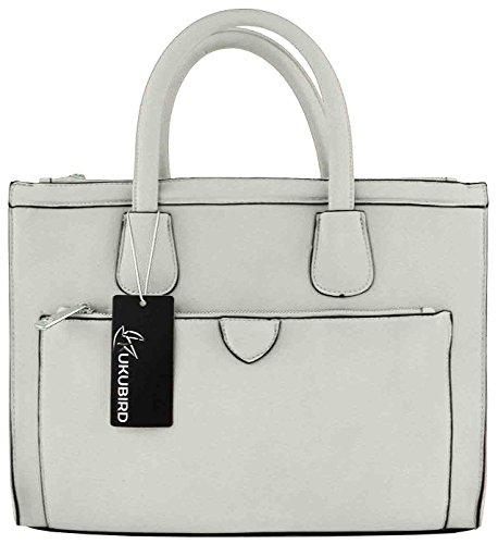 Kukubird Faux Leather Classic Tote Large Handbag WHITE