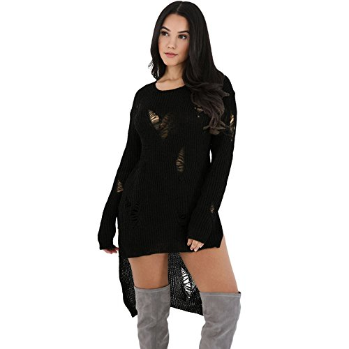 HUA&X Tricot Pull femmes Baggy Haut Cavalier Pull chandail tricoté Black