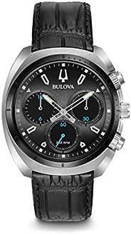 Bulova Mens Quartz Watch, Analog Display and Leather Strap 98A155