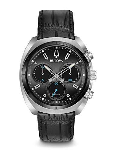 Bulova Herren Chronograph Quarz Uhr mit Leder Armband 98A155 - Grau Herren Uhr Bulova