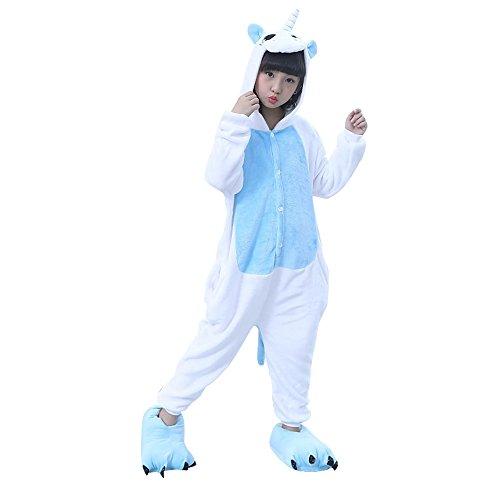 Onesie Jumpsuits für Damen Herren Kinder Weiches Flanell Schlafanzug Cosplay Kostüme Größe von 90 cm bis 180 cm (Empfohlene Höhe 125# ( 130cm - 140cm ), Pegasus Blau) (Pony Für Halloween Sale)