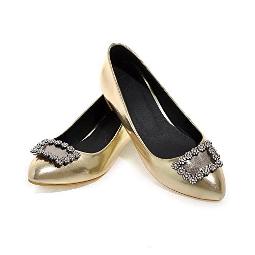 AgooLar Femme Tire Pu Cuir Pointu Couleur Unie Chaussures Légeres Doré