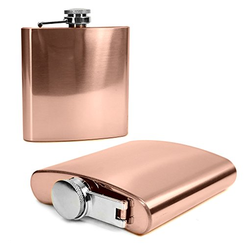 E-Volve Hip Flask - 6oz - Stainless Steel - Brushed - Rose Gold