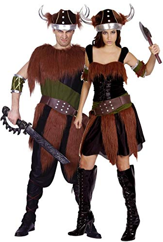 Couples Ladies and Mens Viking Historical Halloween Fancy Dress Costumes Outfits (One Size) (Viking Lady Kostüme)