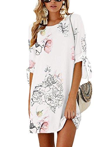 YOINS Sommerkleid Damen Tshirt Kleid Rundhals Kurzarm Minikleid Kleider Langes Shirt Lose Tunika mit Bowknot Ärmeln Weiß-01 EU36-38(Kleiner als Reguläre Größe)