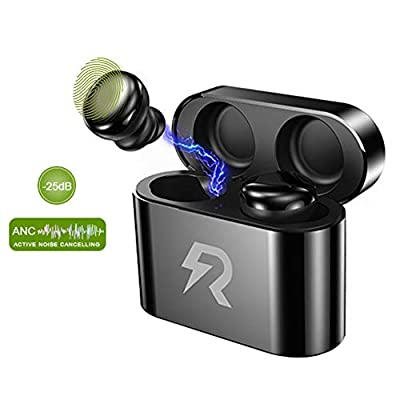 Wireless Headphones,Active Noise Cancelling Bluetooth Earbuds,Rockyrock Bluetooth 5.0 TWS Earphones with Charging Case and Built-in Touch control