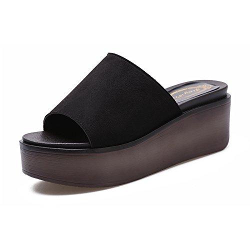 ZPPZZP Ms sandali pantofole spessa stile Coreano pendenza un campo con la funzione di drag and drop 36EU