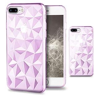 Moozy Silikon Hülle für iPhone 7 Plus / 8 Plus, Transparent Rosa - TPU Texturiert 3D Geometrisches Prism Design Schutzhülle Case