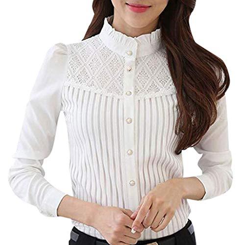 JYJM Frauen Vintage Kragen Bluse Plissee Chiffon Taste Bluse Down Shirt Langarm Spitzen Bluse Damen Kleid Retro 1920er Stil Flapper Kleider mit Zwei Schichten Troddel V Ausschnitt Great Shirt