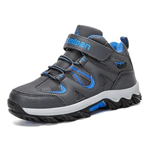 Kinder Schuhe Mesh Sportschuhe Ultraleicht Atmungsaktiv Kinderschuhe Turnschuhe Klettverschluss Low-Top Sneakers Laufen Schuhe Laufschuhe Outdoor Trekking Wanderschuhe für Mädchen Jungen Dunkelblau 35