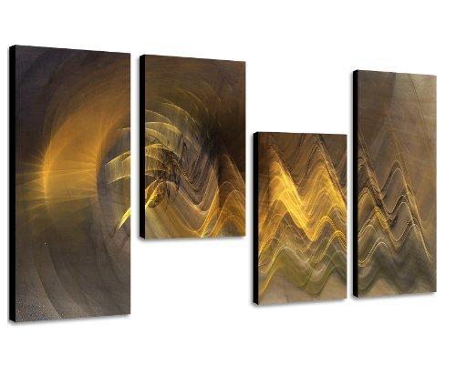 Augenblicke Wandbilder Edles Wandbild – 130x70cm 4 teiliges Keilrahmenbild (30×70+30×50+30×50+30x70cm) abstraktes Wandbild mehrteilig Gemälde-Stil handgemalte Optik Vintage