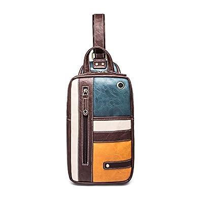 Outreo Sacoche en Cuir Sac bandoulière Vintage Sac à Poitrine Sac Porté épaule Voyage Sac Besace Homme Sport Bag pour école