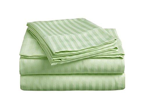 Rajlinen Bed Sheet Set–600-thread-count–100% Ägyptische Baumwolle–38,1cm Deep Pocket–knitterfreies & schmutzabweisend–4Stück, Sage Stripe, Queen