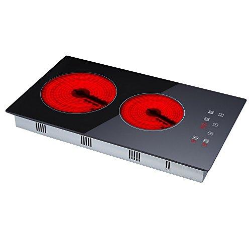 30cm Domino Keramik Kochfeld | 2 Kochzone Eingebautes Elektrisches Schwarzglas-Kochfeld mit Touch-Steuerung