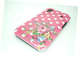 Pink Hard Case with white polka dots and a spray of flowers for Samsung Galaxy Ace S5830