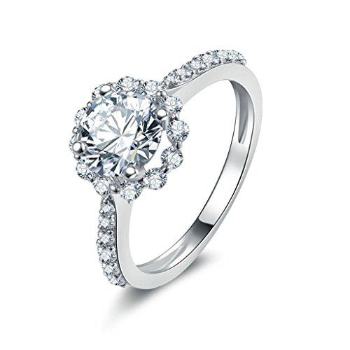 Aienid Schmuck Siegelring Sterling Silber Blume CZ Ringe Für Frauen