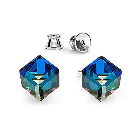 Crystals & Stones *NEU* Ohrstecker *CUBE* *Viele Farben* 925 SILBER Rhodiniert Damen Ohrstecker mit Kristallen von Swarovski Elements ,ideal als Geschenk für Frau oder Freundin PIN/75 (Bermuda Blue)