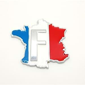 Sticker 3D France en métal pour voiture adhésif autocollant