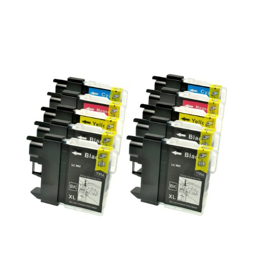 10 Tintenpatronen (Druckerpatronen) für Brother DCP J 125 LC 985 LC985, 4xbk je 22ml, 2x c,2x y, 2x...