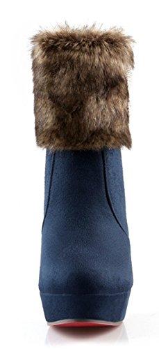 High Short Boots Stiefeletten Mit Heels Damen Ankle Winter Sohle Ye Warme Wildleder Strass Plateau Blau Roter Schuhe Fell Blockabsatz n8RxEWcW