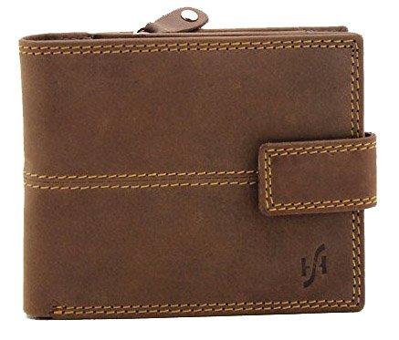 StarHide RFID-Blockierung Männer Braun Beunruhigte Jäger Leder Brieftasche, Mit Einer Sicheren Reißverschluss Münze Tasche & ID-Karte Fenster Tasche Geschenkbox - 1044 (Braun Tasche Echtes Leder Patchwork)