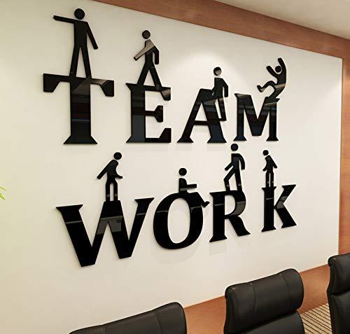 Dalxsh Teamwork Inspirational Slogan 3D StereoWandaufkleber UnternehmenskulturWanddekorationBüroDiy Acryl Wand Sticke40X30 Cm