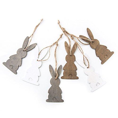 6piccolo coniglietto pasquale regali natura grigio marrone e bianco in legno da appendere 10cm senza filo: altri gioielli hasen ornamentali decorazione pasqua zum regali pugilato + altri deko nest