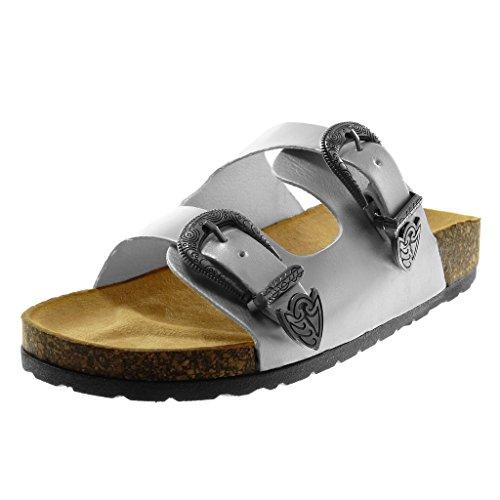 Angkorly Scarpe Moda Sandali Mules Slip-On Donna Fibbia Metallico Sughero Tacco Tacco Piatto 2.5 cm Argento