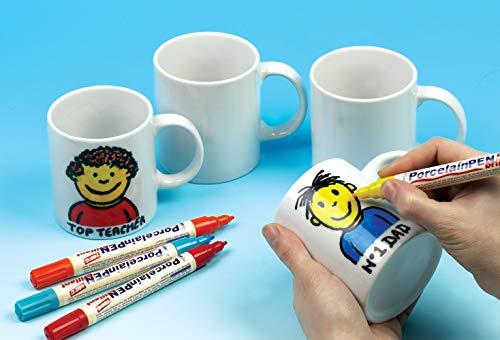 Baker Ross- Diseña Tus propias Tazas Grandes de Porcelana Blanca (Pack de 4) para Que los niños decoren, Manualidades