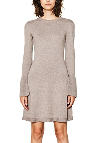 edc by ESPRIT Damen Kleid 087CC1E008, Braun (Taupe 240), Large
