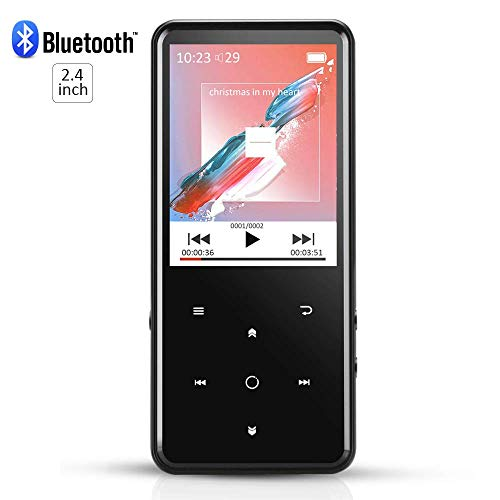 Bluetooth MP3 Player 8 GB, 2,4 Zoll Farbdisplay, MP3 Player von Metall mit Radio FM Y Steckplatz für Speicherkarten SD, Farbe Schwarz AGPtek C2 (Linux Player Mp3)
