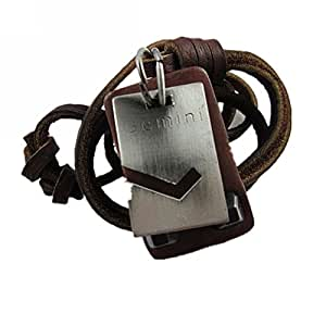 Jirong Gemini Brown Leather and Alloy Pendant Adiustable Necklace Mens Necklace Unisex Necklace Cool Necklace Pl1347