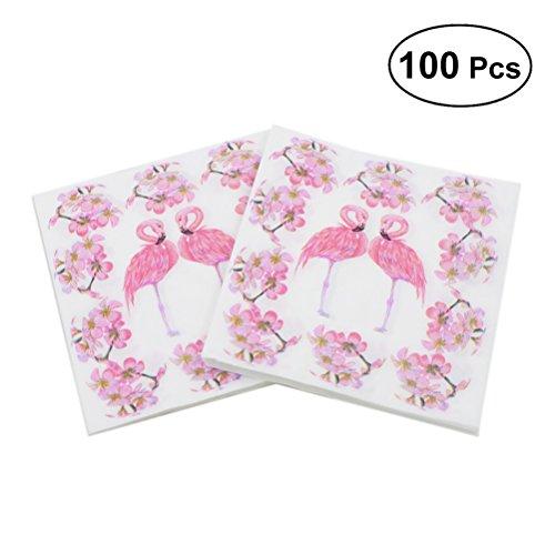 Toyvian 100 stücke Gedruckt Floral Servietten Rosa Flamingo Einweg Tissue Serviette für Geburtstag Dinner Party Favors Supplies Dinner Servietten Floral