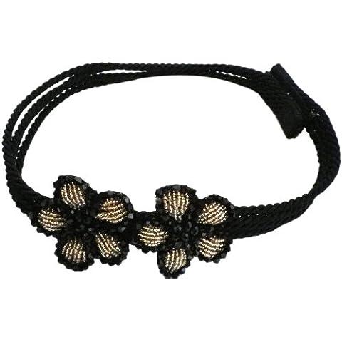Johnny Loves Rosie - Fascia per capelli con 2 fiori e chiusura in velcro, colore nero/oro